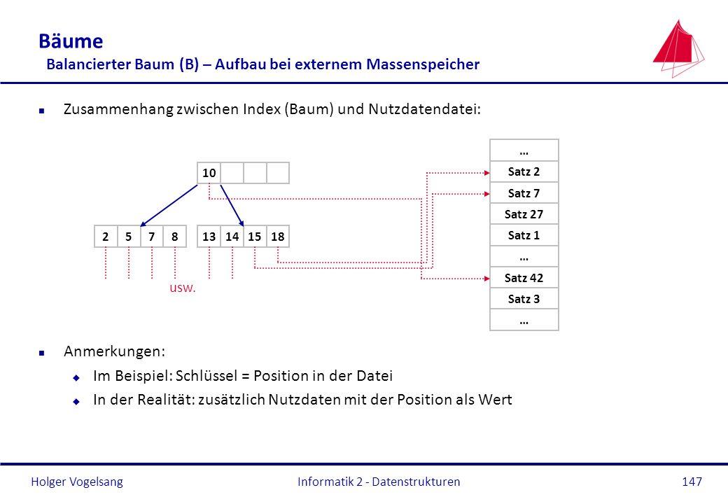Bäume Balancierter Baum (B) – Aufbau bei externem Massenspeicher