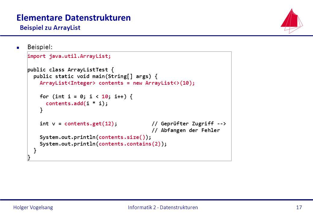 Elementare Datenstrukturen Beispiel zu ArrayList