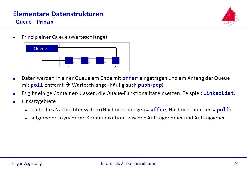 Elementare Datenstrukturen Queue – Prinzip