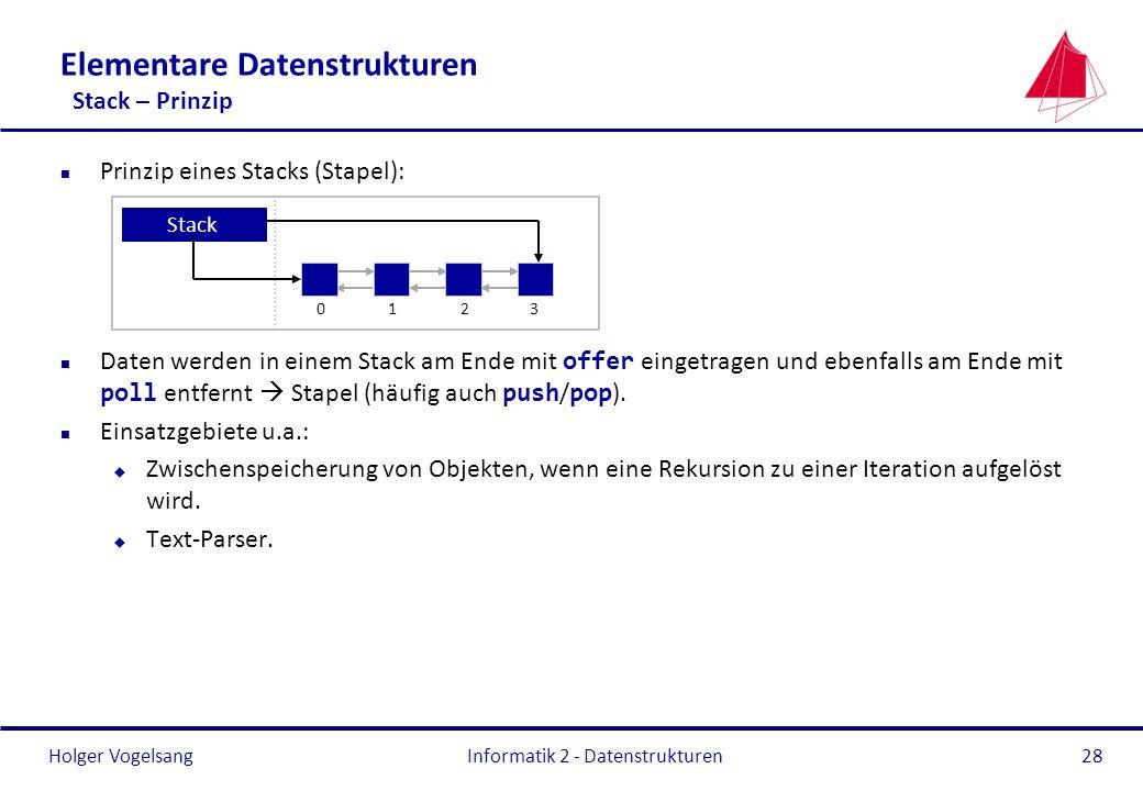 Elementare Datenstrukturen Stack – Prinzip