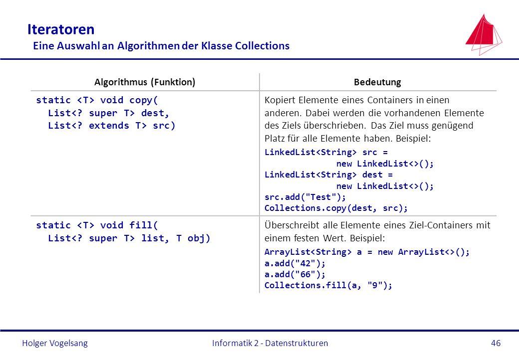 Iteratoren Eine Auswahl an Algorithmen der Klasse Collections