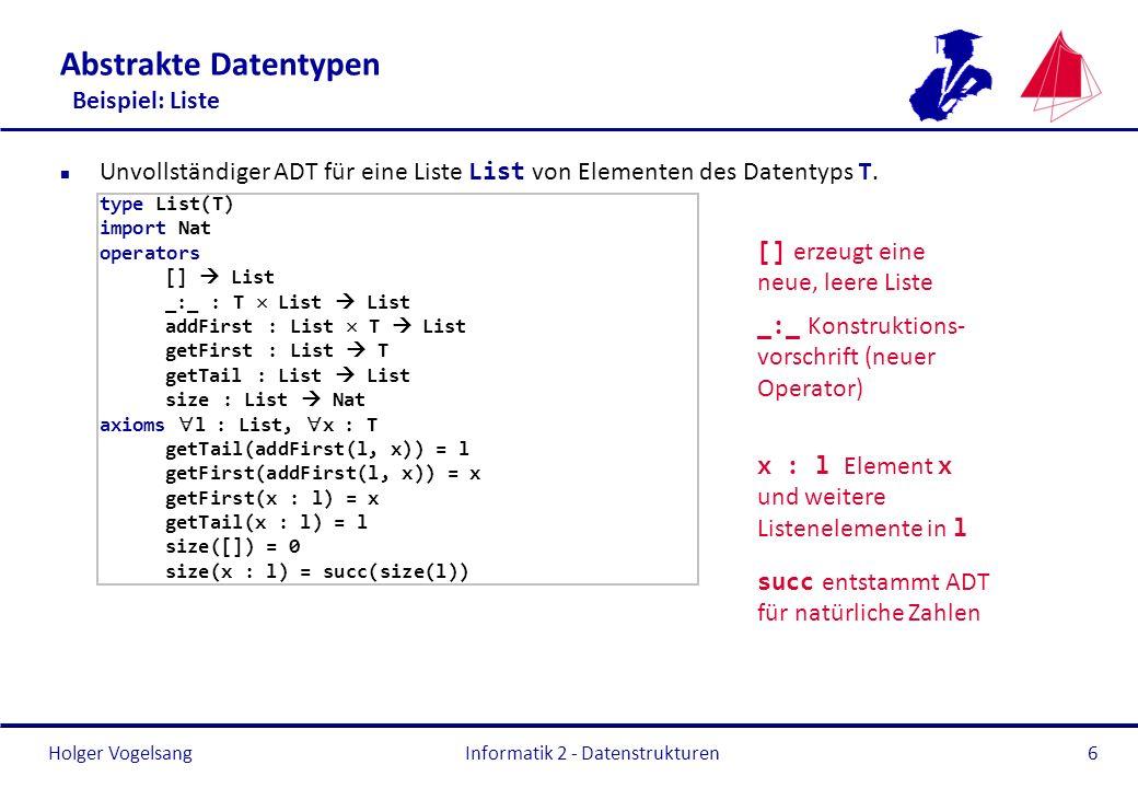 Abstrakte Datentypen Beispiel: Liste