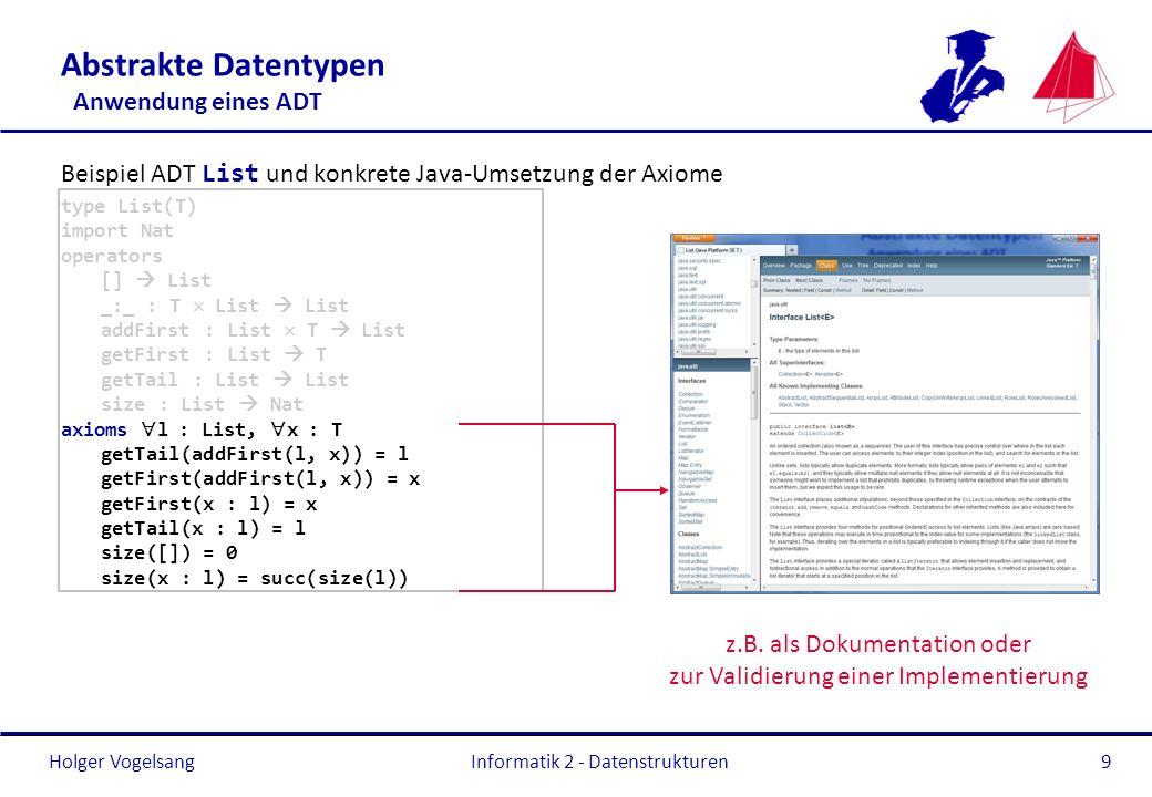 Abstrakte Datentypen Anwendung eines ADT