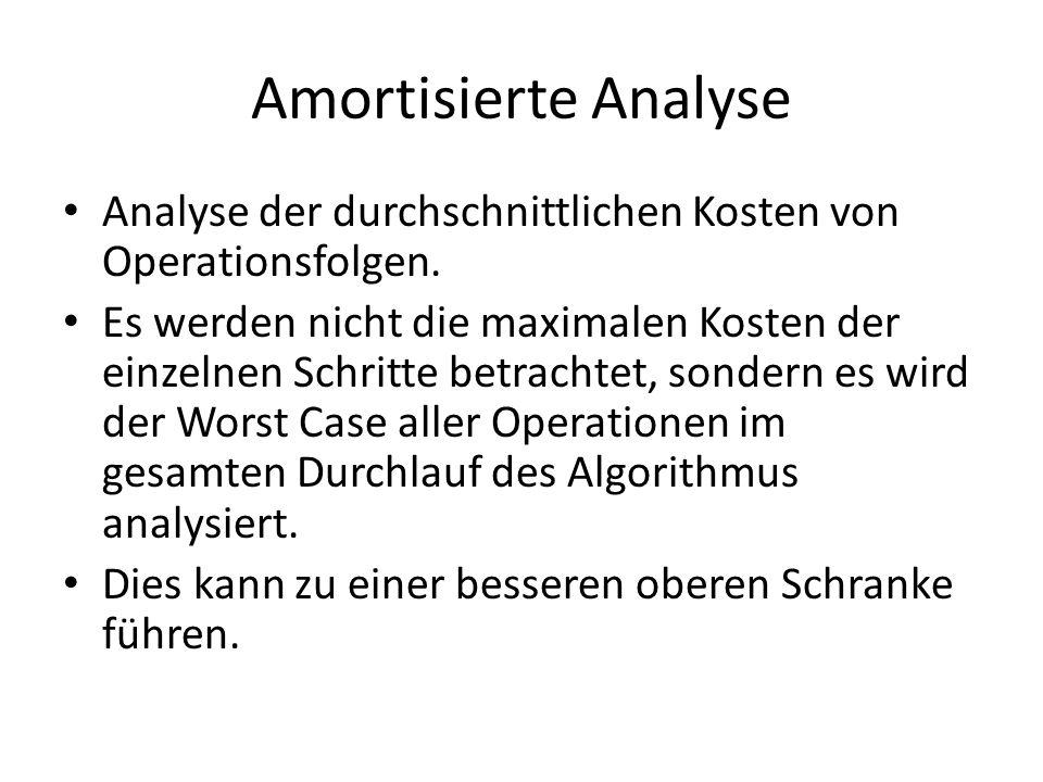 Amortisierte Analyse Analyse der durchschnittlichen Kosten von Operationsfolgen.