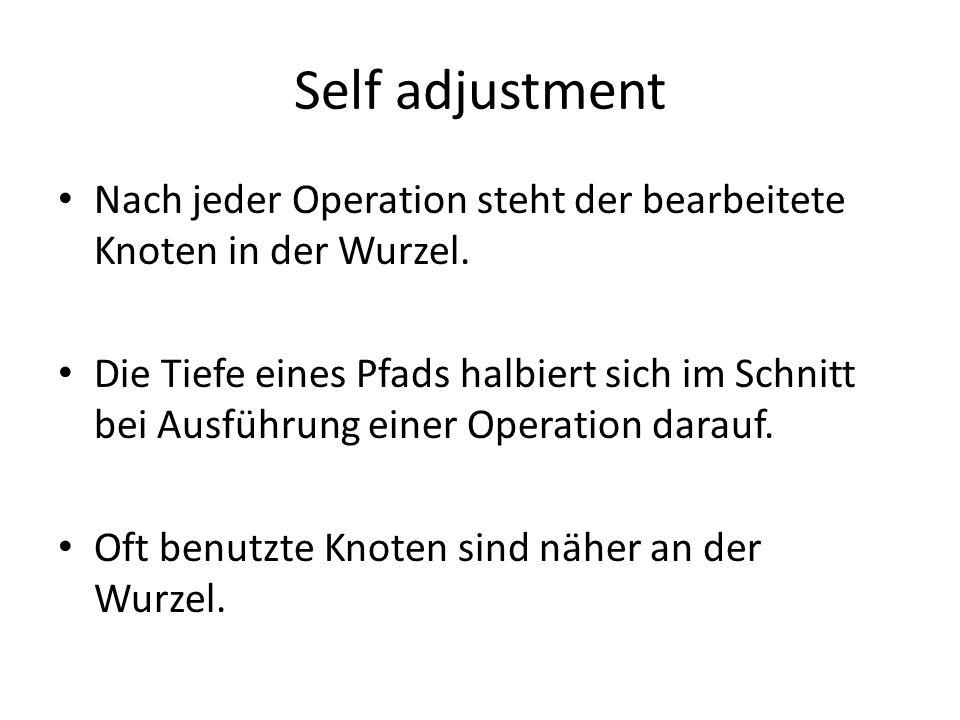 Self adjustment Nach jeder Operation steht der bearbeitete Knoten in der Wurzel.