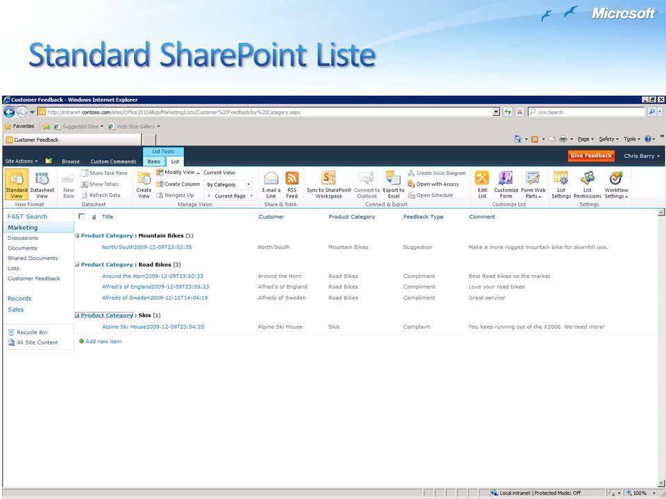 Standard SharePoint Liste