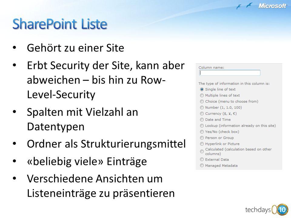 SharePoint Liste Gehört zu einer Site