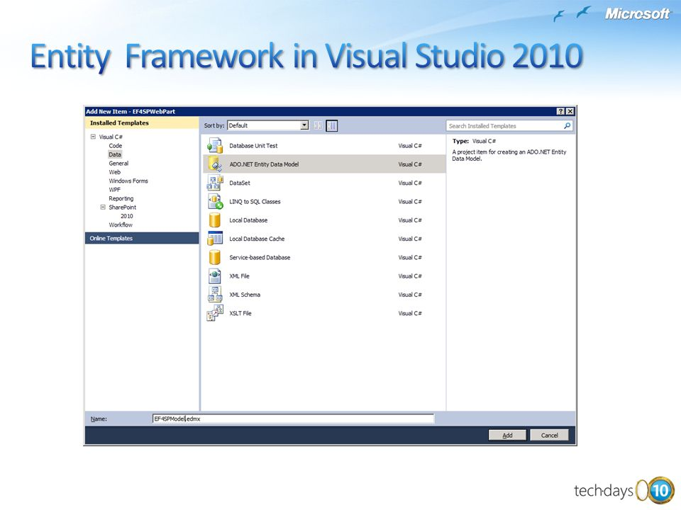 Entity Framework in Visual Studio 2010