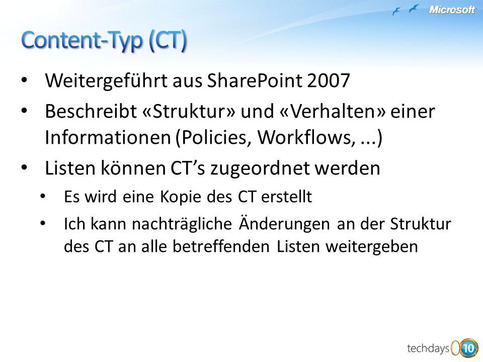 Content-Typ (CT) Weitergeführt aus SharePoint 2007