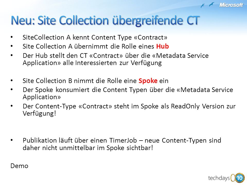 Neu: Site Collection übergreifende CT