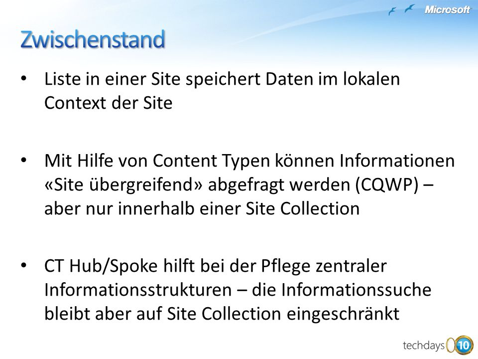 Zwischenstand Liste in einer Site speichert Daten im lokalen Context der Site.