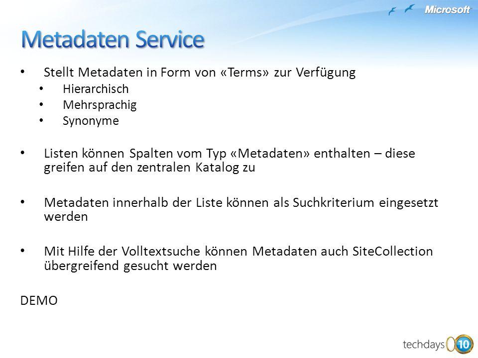 Metadaten Service Stellt Metadaten in Form von «Terms» zur Verfügung