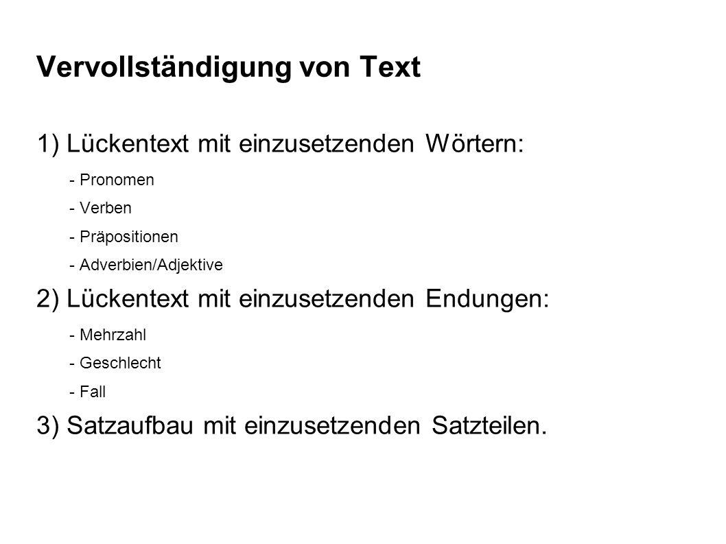 Vervollständigung von Text