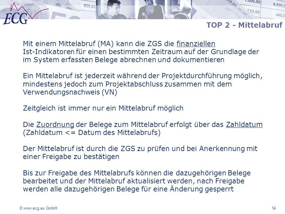 TOP 2 - Mittelabruf