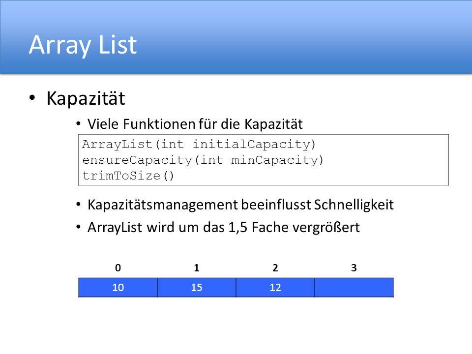 Array List Kapazität Viele Funktionen für die Kapazität