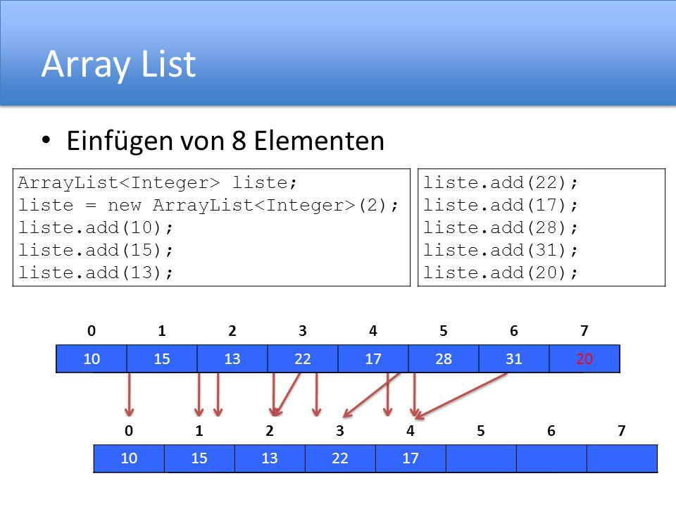 Array List Einfügen von 8 Elementen ArrayList<Integer> liste;