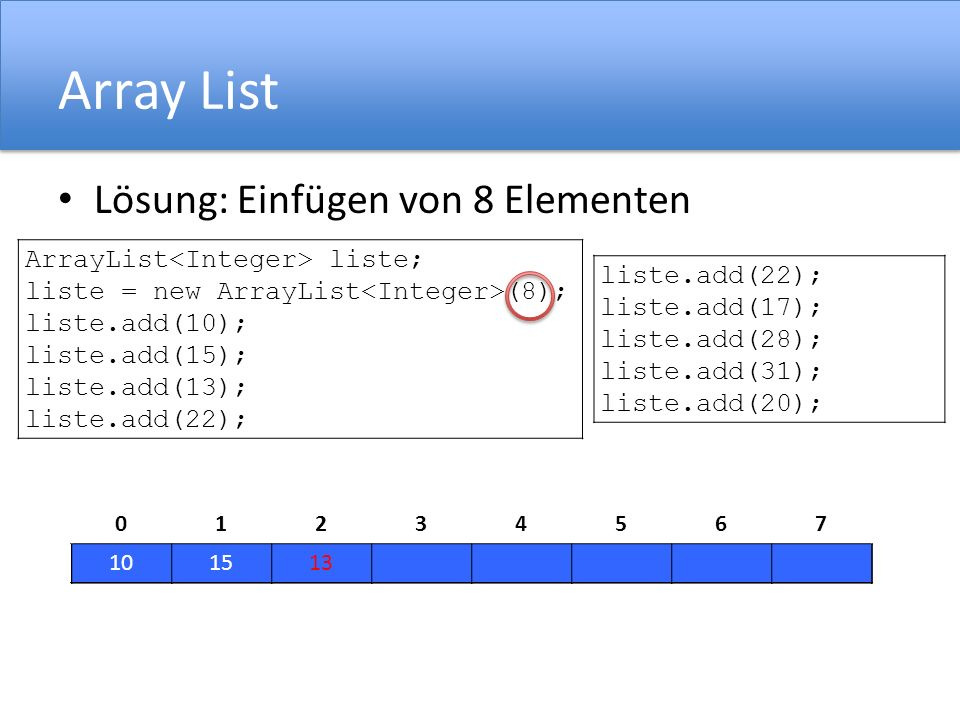 Array List Lösung: Einfügen von 8 Elementen