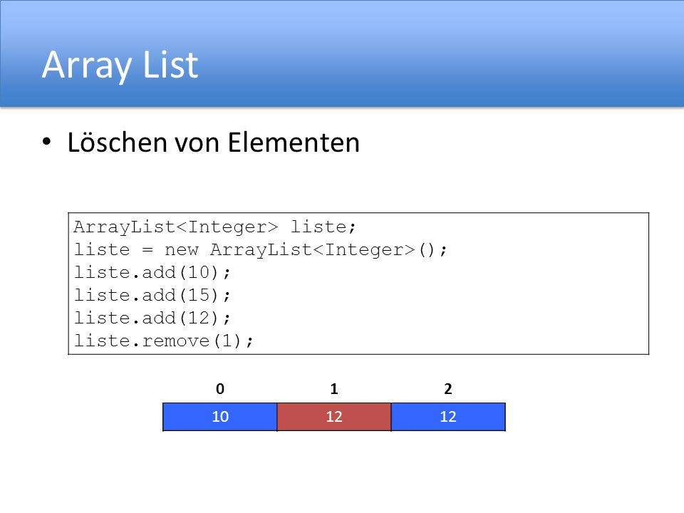 Array List Löschen von Elementen ArrayList<Integer> liste;