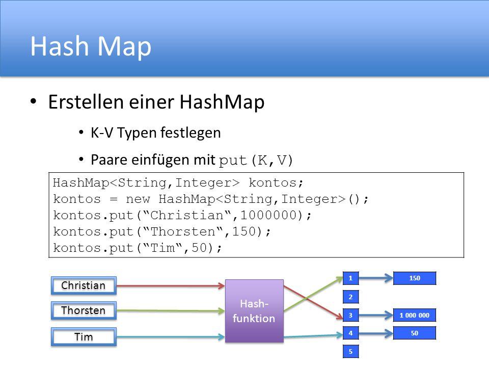 Hash Map Erstellen einer HashMap K-V Typen festlegen