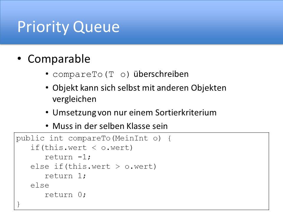 Priority Queue Comparable compareTo(T o) überschreiben