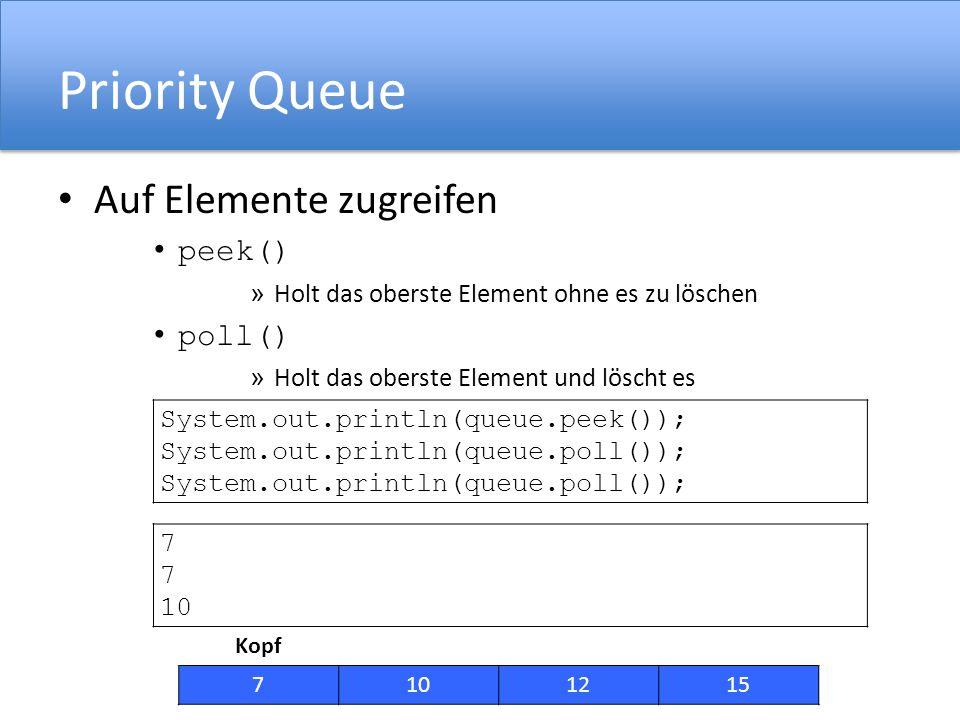 Priority Queue Auf Elemente zugreifen peek() poll()