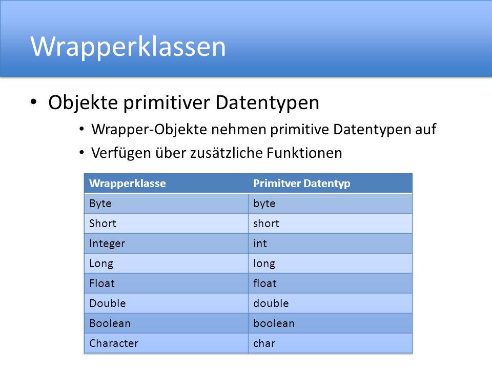 Wrapperklassen Objekte primitiver Datentypen
