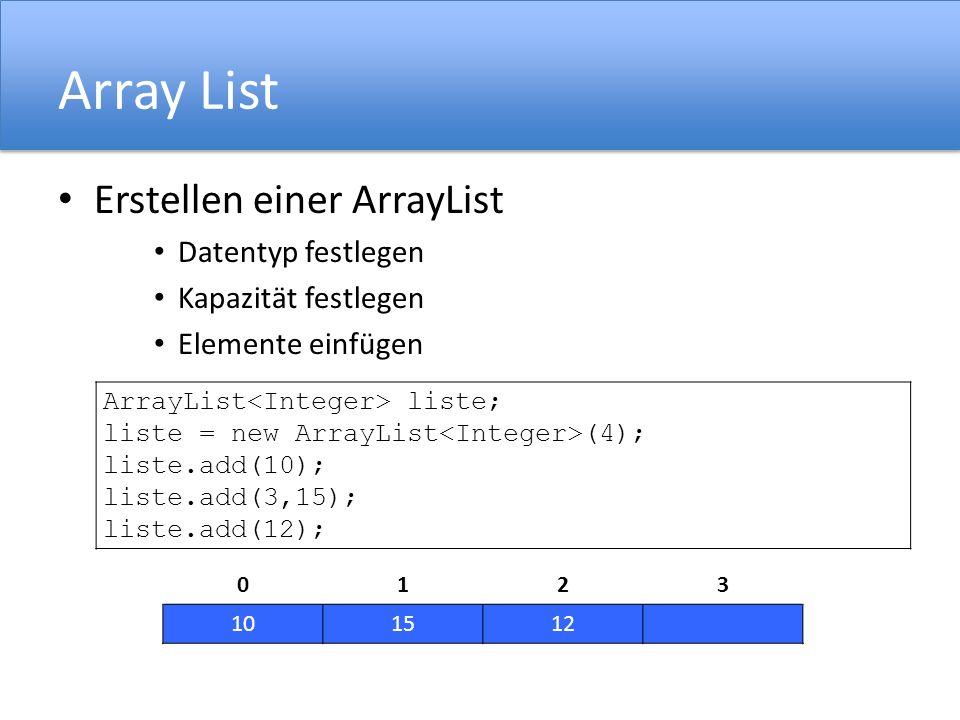 Array List Erstellen einer ArrayList Datentyp festlegen
