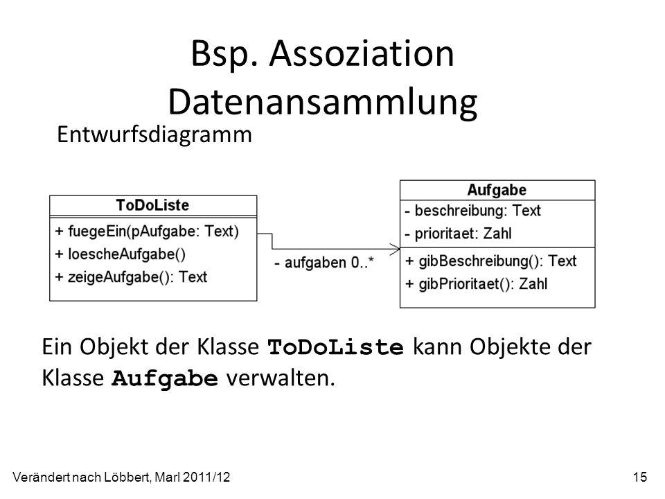 Bsp. Assoziation Datenansammlung