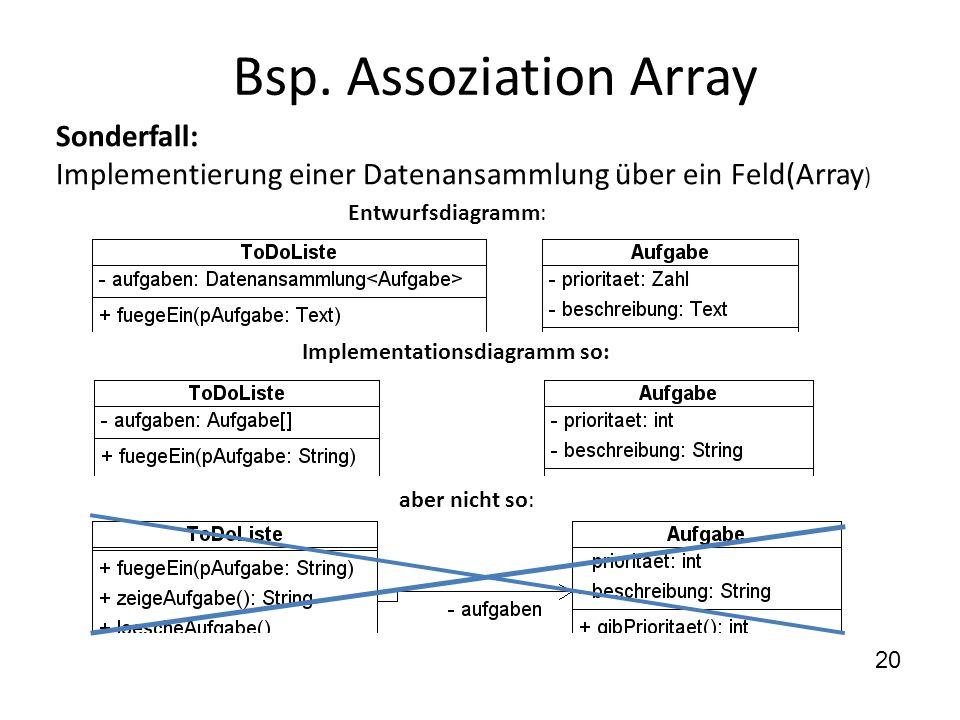 Bsp. Assoziation Array Sonderfall: