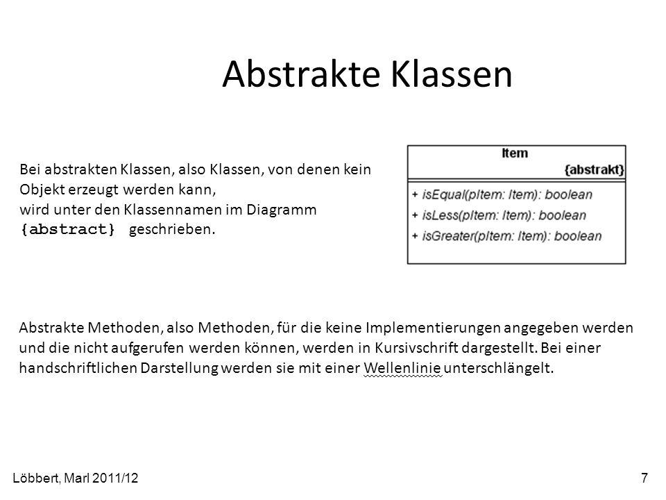 Abstrakte Klassen Bei abstrakten Klassen, also Klassen, von denen kein Objekt erzeugt werden kann,