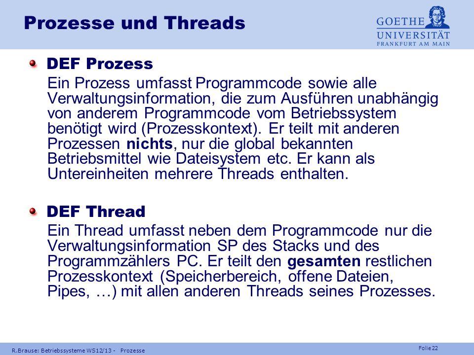 Prozesse und Threads DEF Prozess
