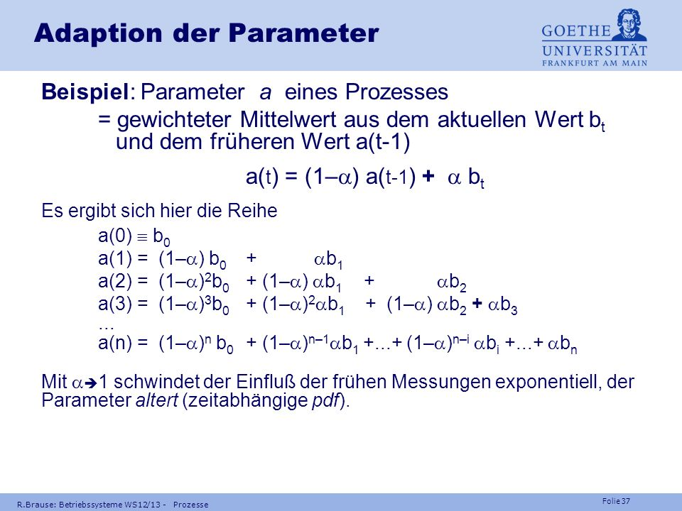 Adaption der Parameter