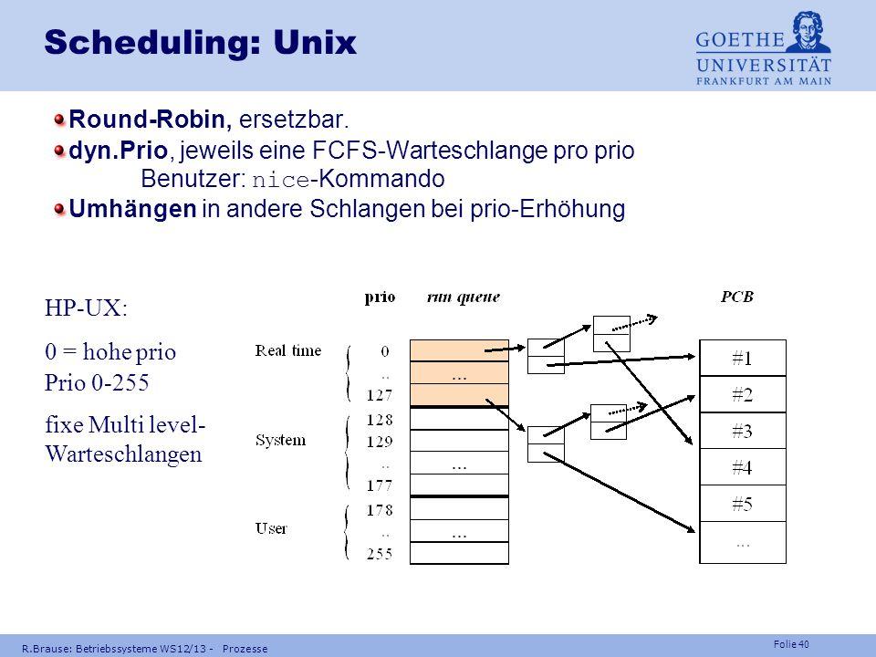 Scheduling: Unix Round-Robin, ersetzbar.