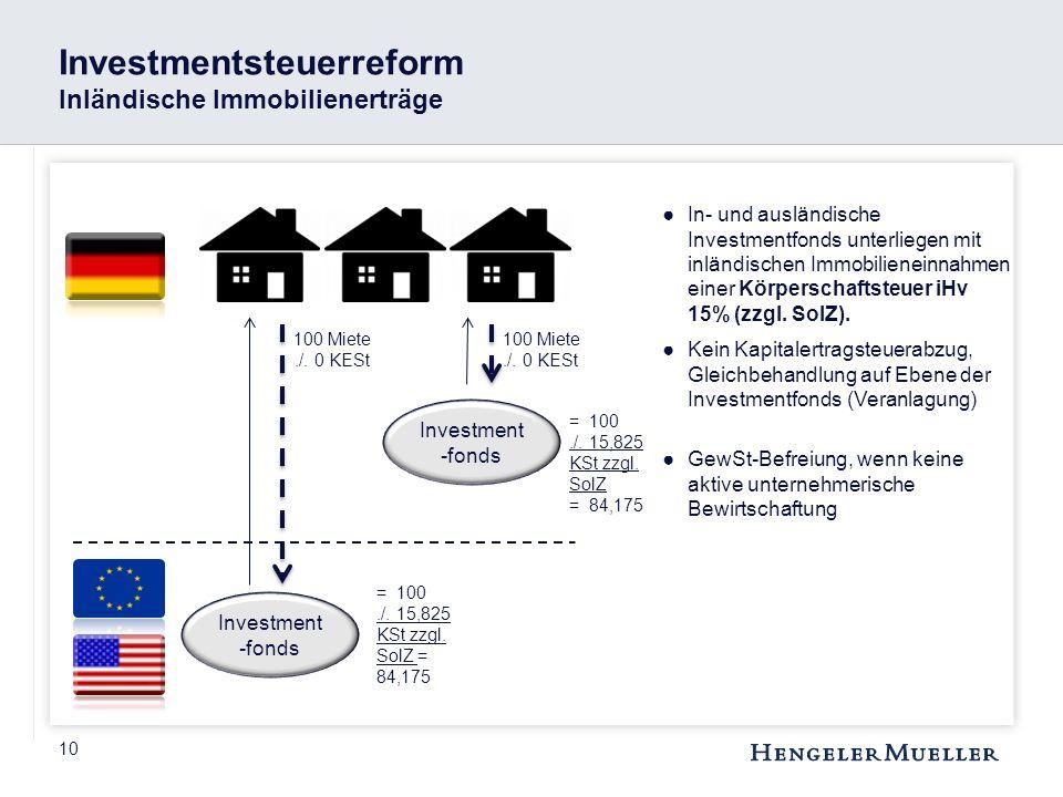 Investmentsteuerreform Inländische Immobilienerträge
