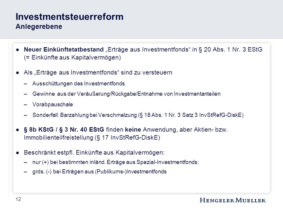 Investmentsteuerreform Anlegerebene