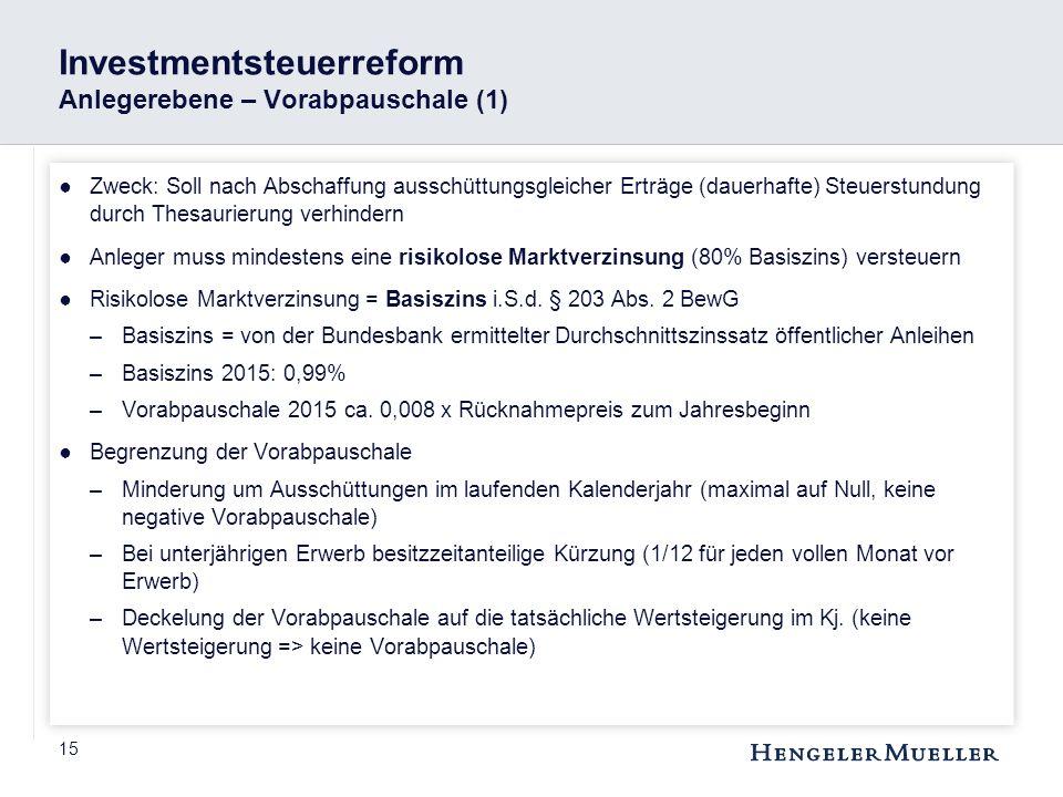 Investmentsteuerreform Anlegerebene – Vorabpauschale (1)