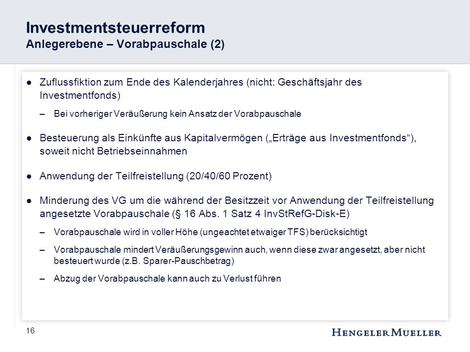 Investmentsteuerreform Anlegerebene – Vorabpauschale (2)