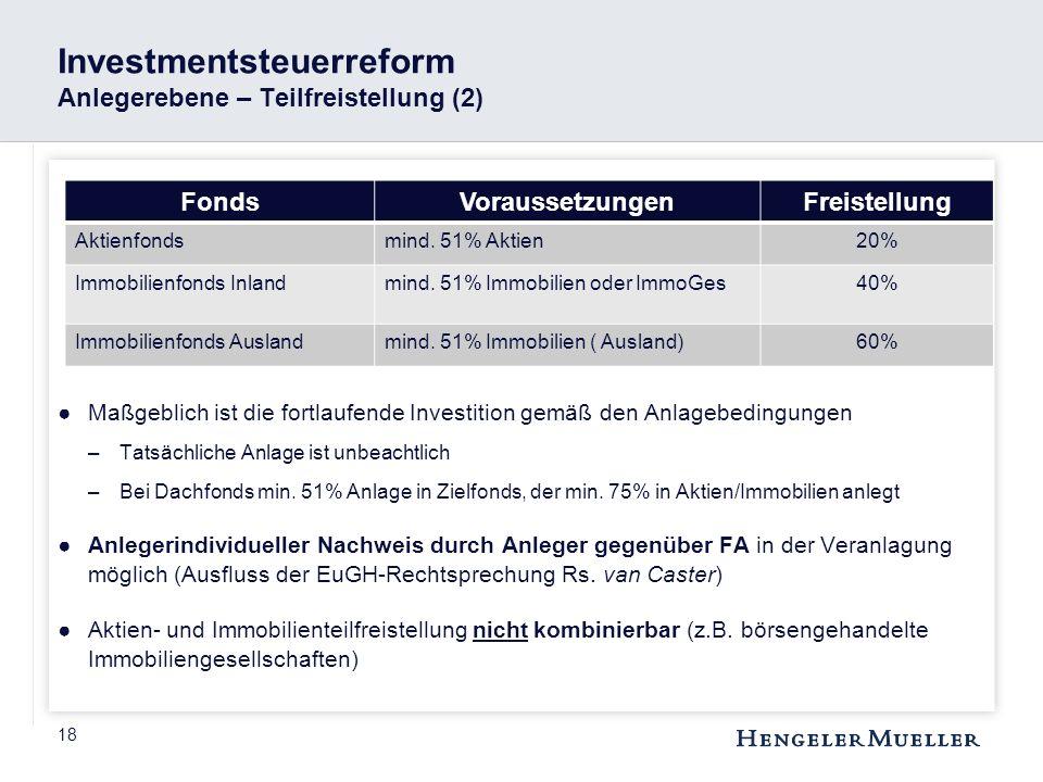 Investmentsteuerreform Anlegerebene – Teilfreistellung (2)