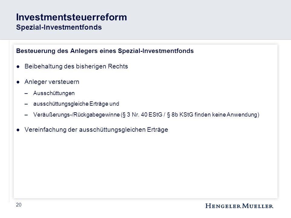 Investmentsteuerreform Spezial-Investmentfonds