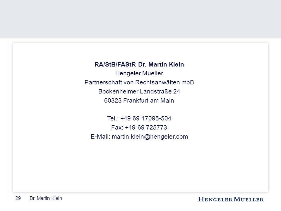RA/StB/FAStR Dr. Martin Klein