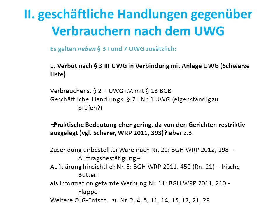 II. geschäftliche Handlungen gegenüber Verbrauchern nach dem UWG