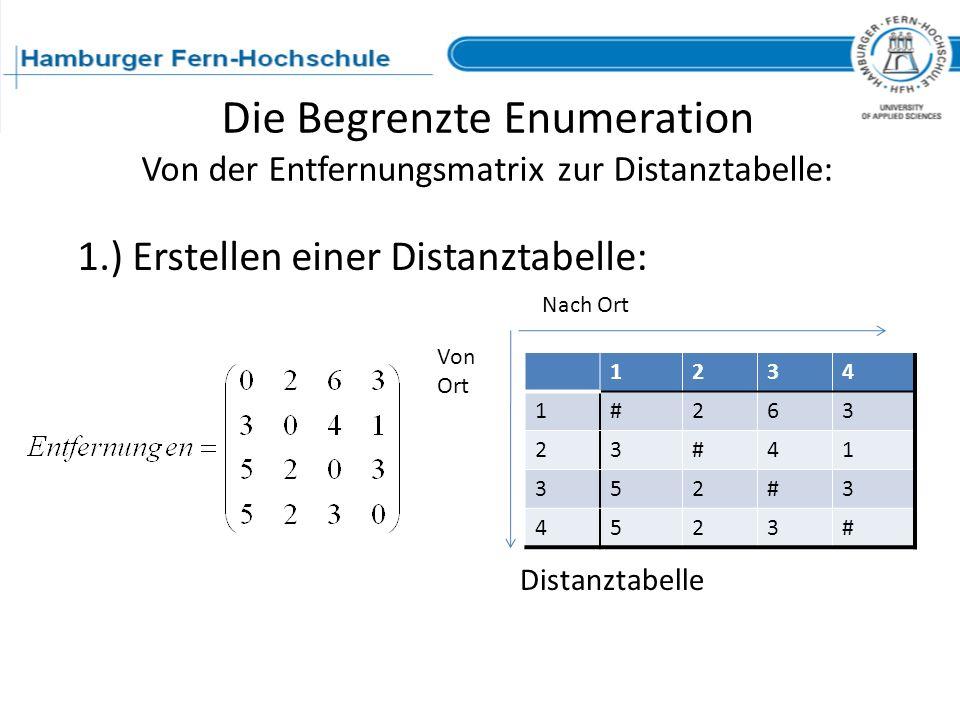 Die Begrenzte Enumeration Von der Entfernungsmatrix zur Distanztabelle: