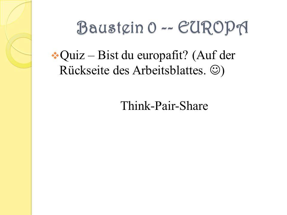 Baustein 0 -- EUROPA Quiz – Bist du europafit. (Auf der Rückseite des Arbeitsblattes.