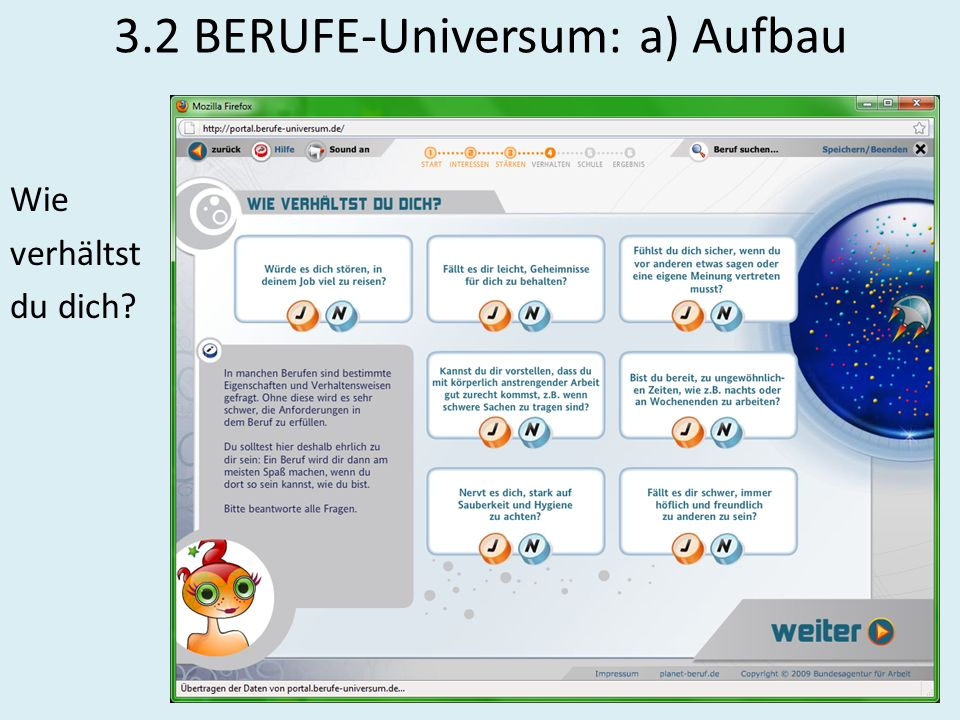 3.2 BERUFE-Universum: a) Aufbau
