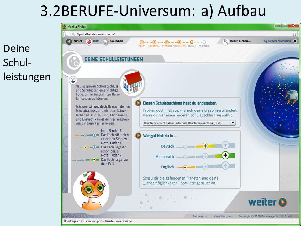 3.2BERUFE-Universum: a) Aufbau