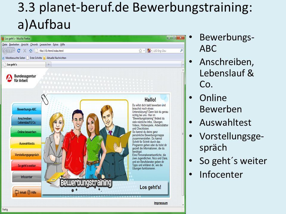 3.3 planet-beruf.de Bewerbungstraining: a)Aufbau