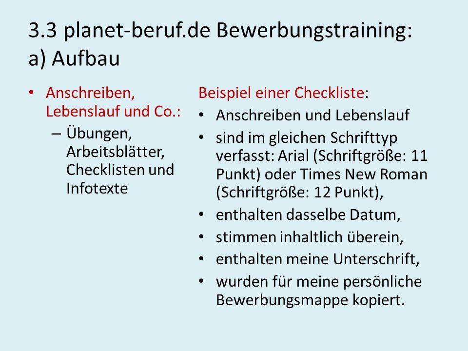 3.3 planet-beruf.de Bewerbungstraining: a) Aufbau