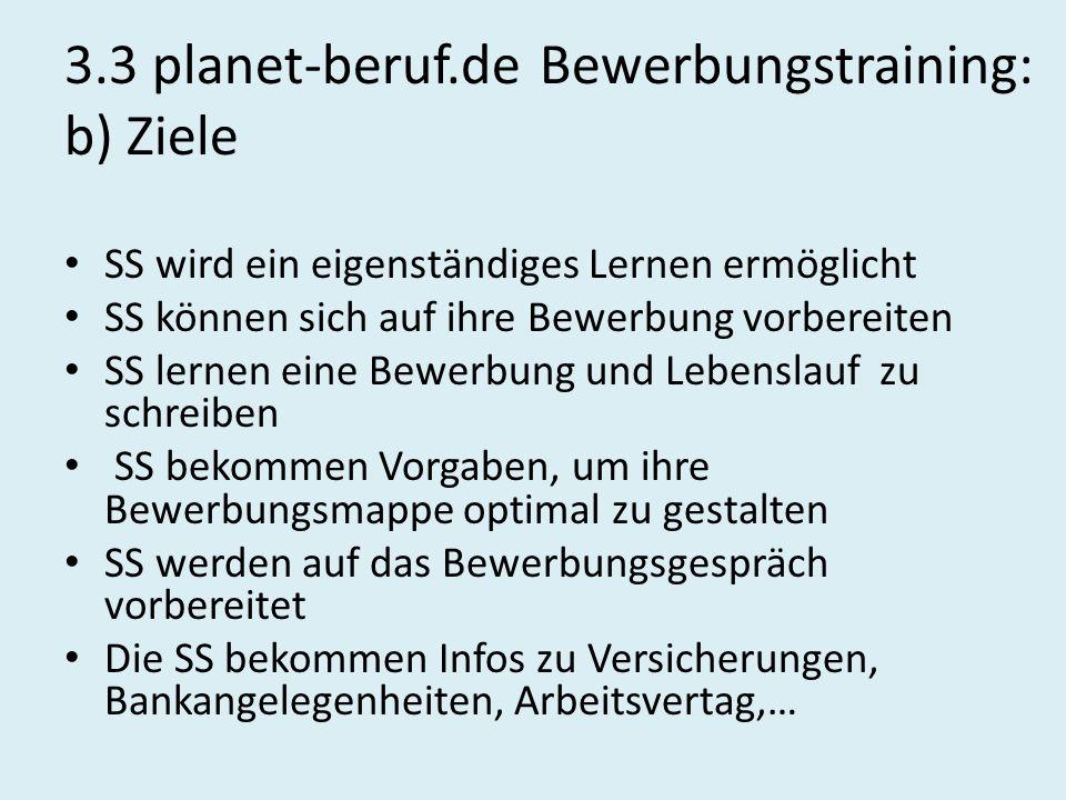 3.3 planet-beruf.de Bewerbungstraining: b) Ziele