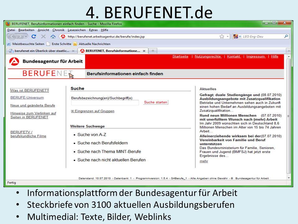 4. BERUFENET.de Informationsplattform der Bundesagentur für Arbeit