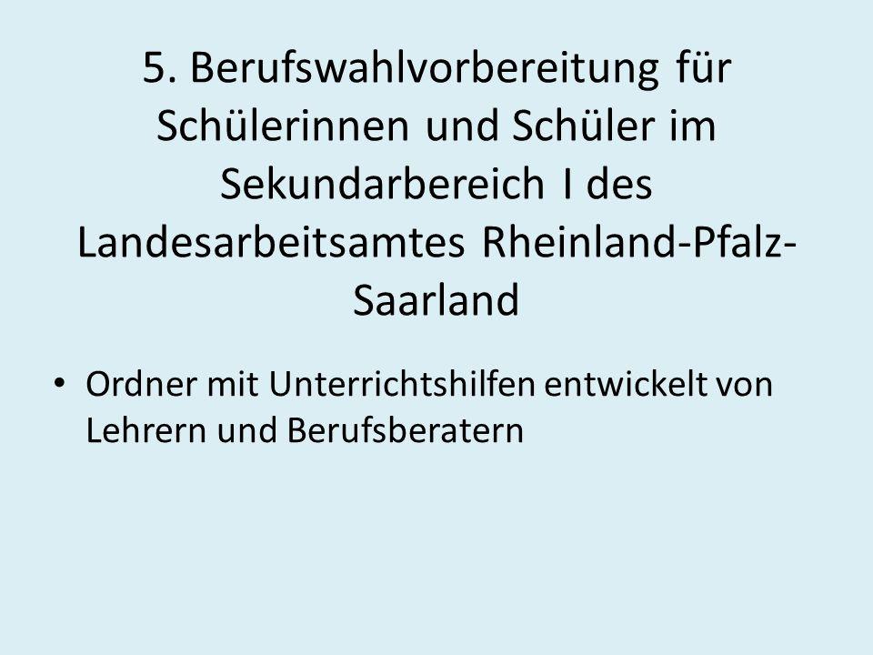 5. Berufswahlvorbereitung für Schülerinnen und Schüler im Sekundarbereich I des Landesarbeitsamtes Rheinland-Pfalz-Saarland